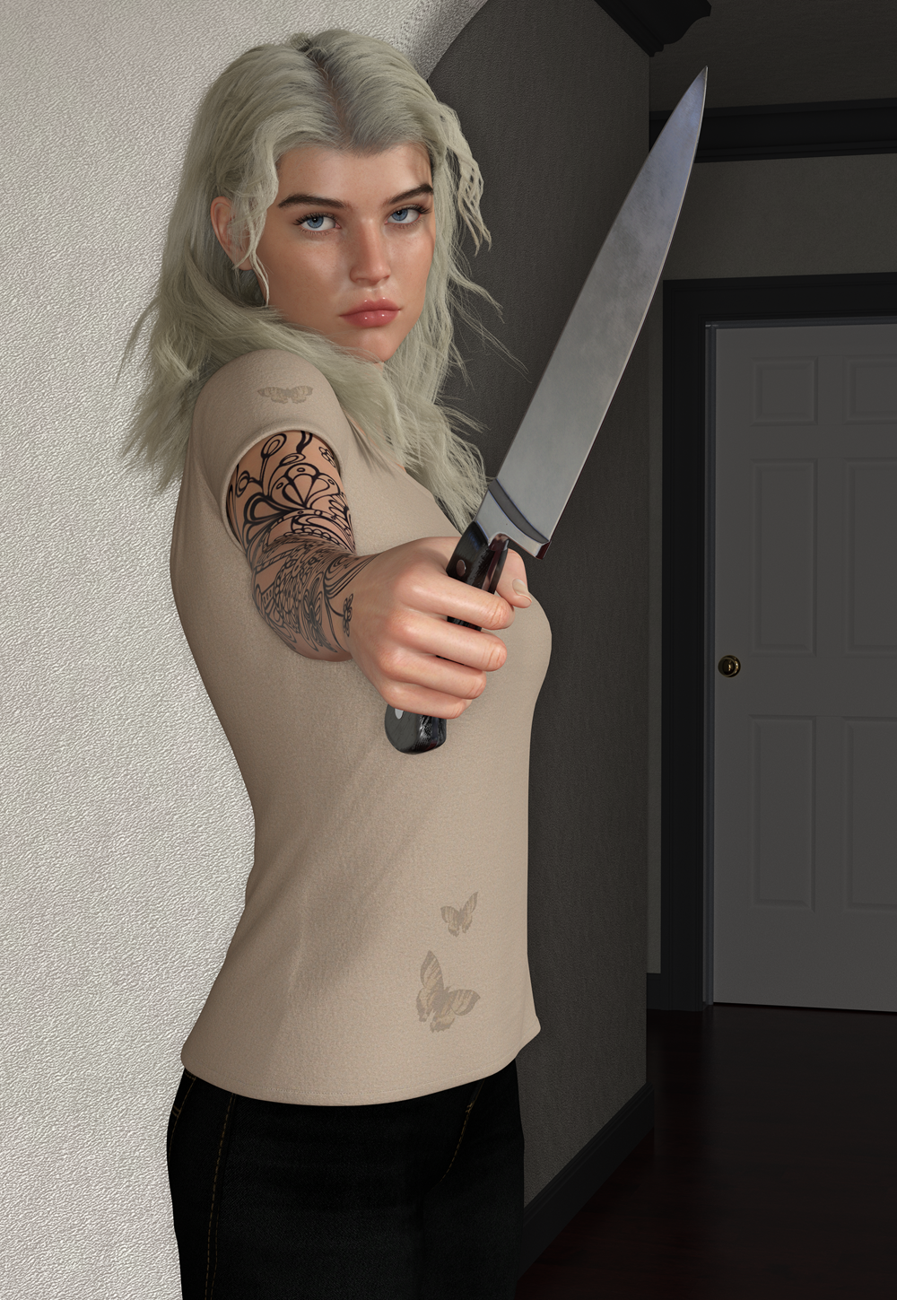 White Female with Knife